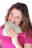 Angry woman eat money Stock Photography