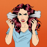 Angry Woman. Furious Girl. Negative Emotions. Bad Days. Bad Mood. Stressful Woman. Comic Background. Pop Art Banner. Vector illustration royalty free illustration