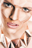Angry woman with geometrical bodyart on face Royalty Free Stock Photography