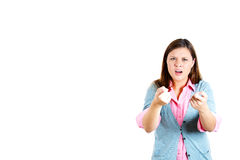 Angry woman getting mad and pointing at you with two hands, Royalty Free Stock Photo