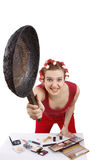 Angry woman in hair rollers. Royalty Free Stock Photography