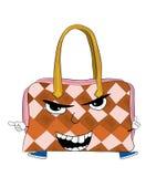 Angry woman handbag cartoon Stock Photos
