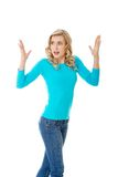 Angry woman with hands up Royalty Free Stock Image