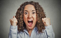 Angry woman having nervous breakdown screaming Stock Photography