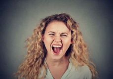 Angry woman having nervous breakdown screaming. Angry young woman having nervous breakdown screaming Royalty Free Stock Photos