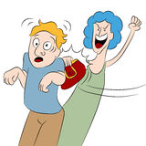 Angry Woman Hits Man With Her Purse. An image of a angry woman hitting a man with her purse Stock Photos