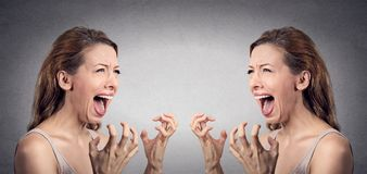 Angry woman hysterical screaming pissed off at herself Stock Photography