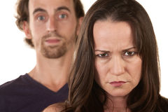 Angry Woman and Innocent Man Royalty Free Stock Photography
