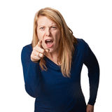 Angry woman. Isolated on white background Royalty Free Stock Photos