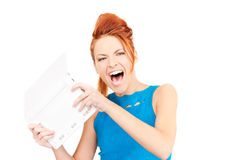 Angry woman with laptop computer Stock Image