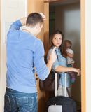 Angry woman leaving from home Royalty Free Stock Images