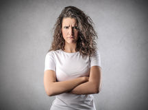 Angry woman. Looking in front of herself Royalty Free Stock Images