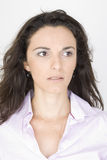 Angry woman looking to her left Royalty Free Stock Images