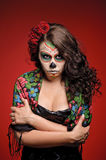 Angry Woman in makeup for Dia De Los Muertos Stock Image
