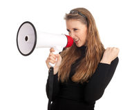 Angry woman and megaphone Stock Photography