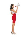 Angry woman with megaphone Stock Photos