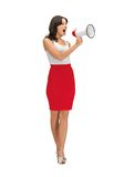 Angry woman with megaphone Stock Image