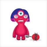 Angry Woman Monster Vector. Cartoon Mascot Character. Vector Illustration. Royalty Free Stock Photography