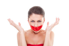 Angry woman with  mouth covered Stock Photography
