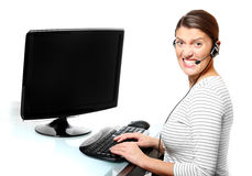 Angry woman in the office Stock Photos