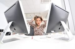 Angry woman at the office Stock Image