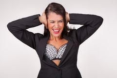 Woman in panic royalty free stock photography