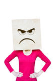 Angry woman. Woman with a paper bag on her head with an angry expression on it Royalty Free Stock Photos