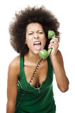 Angry woman at phone Royalty Free Stock Photography