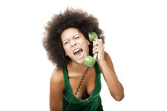 Angry woman at phone Royalty Free Stock Photos