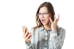 Angry woman phone Stock Photography