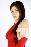 Angry woman pointing finger isolated Stock Images