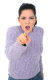 Angry Woman Pointing To Camera. Isolated on white stock image