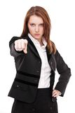 Angry woman points forward. Stock Images