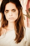 Angry woman portrait stock photo