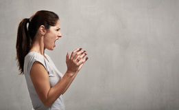 Angry woman profile Royalty Free Stock Image