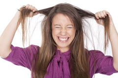 Angry woman pulling her hair Stock Image
