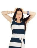 Angry woman  pulling her hair Royalty Free Stock Image