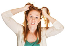 Angry Woman Pulling Her Hair Stock Photos