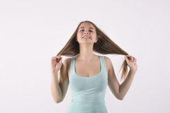 Angry woman pulling his hair. Young angry woman pulling his hair Royalty Free Stock Photo