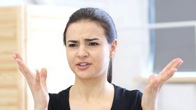 Angry Woman Reacting toSituation, Aggressive stock photo