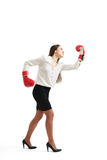 Angry woman in red boxing gloves Stock Images