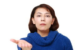 Angry woman requests something Stock Photos