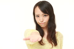 Angry woman requests something Stock Image