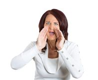 Angry woman screaming Stock Images