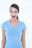Angry woman screaming. On white background Royalty Free Stock Photo