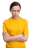 Angry woman seriously looking  at camera Royalty Free Stock Images