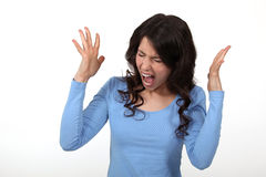 Angry woman shouting. And raising her hands Royalty Free Stock Photo