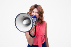 Angry woman shouting in megaphone Stock Photo