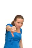 Angry woman shows forefinger royalty free stock photo