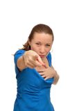 Angry woman shows forefinger Royalty Free Stock Photography